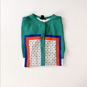 H&M Colorblock Geometric Tunic Blouse